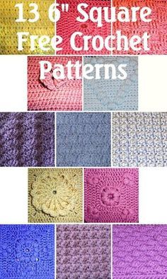 """3 different 6"""" square Free Crochet Patterns - some of these patterns make the best dish cloths and scarfs"""