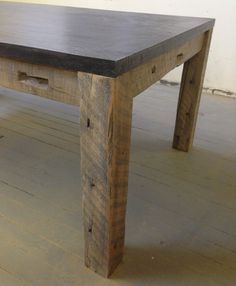 Concrete Slab Dining Table Reclaimed Wood & by decoratelier