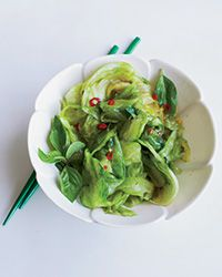 Fiery Stir-Fried Iceberg Lettuce with Basil Recipe. How unusual is this? This sure isn't boring old iceberg lettuce.  on Food & Wine