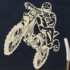 "Style and Apply Motocross Wall Decal Size: 56"" H x 46"" W, Color: White"