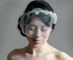 Champagne Bridal headband and detach mini tulle veil by VelvetOwl