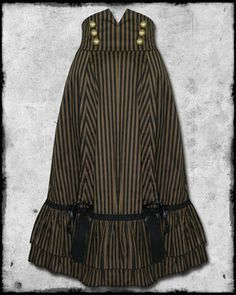 SPIN DOCTOR MARKETA BLACK BROWN BRONZE STRIPE COPPER BUTTON LONG STEAMPUNK  SKIRT ea950e403012