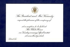 White House invitation to a black tie reception at which President Kennedy honors composer Meredith Wilson with the Brother of the Year Award, April 10, 1962.