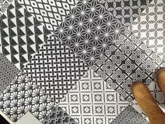 concrete tile black and white floor kitchen or bathroom.