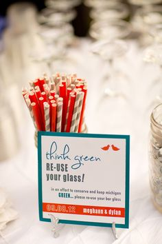 Eco friendly wedding reception! Photography By…