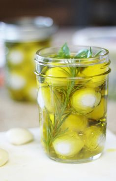 A fun idea for a hostess gist - Jars of mozzarella with herbs, spices, and good olive oil.