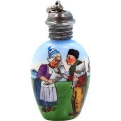 Pretty Vintage Sterling Hand Painted Dutch Couple Perfume Bottle Pendant Charm..