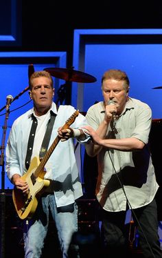 "Glen Frey and Don Henley of the Eagles perform during ""History Of The Eagles Live In Concert"" at the Bridgestone Arena on October 16, 2013 i..."