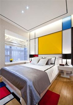 Master Bedroom Trends for 2017 This design has all of the primary colors; red, yellow, and This design has all of the primary colors; red, yellow, and blue. Edgy Bedroom, Bedroom Red, Bedroom Colors, Master Bedroom, Bedroom Ideas, Simple Bedroom Design, Deco Design, Bauhaus, Minimalist Bedroom