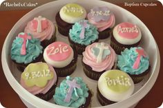 Pretty pastel communion cupcakes