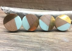 Clearance - Imperfect Tricolor Mint Distressed Brass and Natural Wood Knob - Round Wood and Mint Res Furniture Knobs, Diy Furniture, Diy Upcycled Dresser, Design Your Own Jewelry, Wood Dresser, Decorative Knobs, Jewelry Holder, Natural Wood, Mint Green