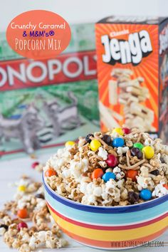 This Crunchy Caramel & M&M's® Popcorn Mix offers something for everyone crunch, chocolate, caramel, and salt without a gooey mess!  #GameNightIn #ad Crunchy Caramel & M&M's® Popcorn Mix - Eazy Peazy Mealz