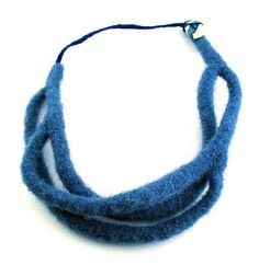 handmade wool felt necklace with polymer clay button closure posted to my blog