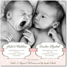 Banner Delight - Twins Photo Birth Announcements in Chenille   Sarah Hawkins Designs