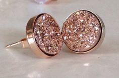 LOVE 10mm Rose Gold Druzy Studs Titanium Drusy Quartz Earrings Rose Gold Vermeil Bezel Set