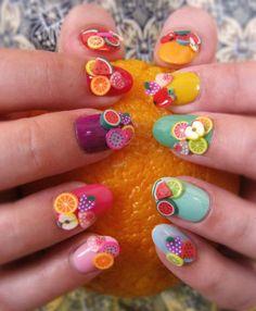 Маникюр с фруктами - 3d фрукты на ногтях