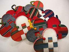 traditional scandinavian; Danish woven hearts made with Finnish folk costume fabrics and felt