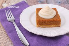 A recipe for paleo and gluten-free pumpkin bars with frosting