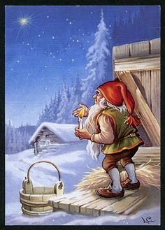 Vintage Norwegian card with the fjøsnisse Sweden Christmas, Norwegian Christmas, Christmas Gnome, Christmas Art, Scandinavian Art, Scandinavian Christmas, David The Gnome, Kobold, Elves And Fairies
