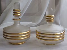 VINTAGE ART DECO Czech Glass Gilt Ringed COLOGNE PERFUME & Puff Jar Powder Set
