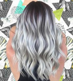 Throwing in back to this High contrast Icy babe! Major hair crush 😍 my formulation in previous post. Oligo Professionnel for lightener and Olaplex… Stop Grey Hair, Grey Hair Wig, Grey Blonde Hair, Brown Ombre Hair, Ombre Hair Color, Cool Hair Color, Hair Colors, Grey Hair Brown Roots, Silver Ombre Hair