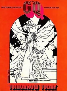 """""""superseventies:  GQ magazine cover illlustrated by Peter Max, February 1970.  """""""