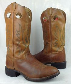 Activewear Activewear Mens 8.5 D Brown Leather Justin Jb1100 Ranch & Road Motorcycle Western Boots