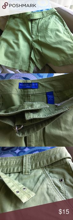 Karen Scott Sport Sz 8 women's moss green shorts 100% cotton miss green shorts with matching belt that you can use elsewhere to mix and match. This size 8 fits more like a 6. Used very gently and mostly sat in the closet away from bright sun so the color is still vibrant, with no visible wear. I like the small details that I show in last photos. Karen Scott Shorts Bermudas