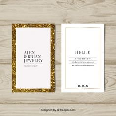 Luxury business card with golden frame Free Vector