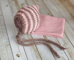 Striped Knitted Bonnet and Stretchy Wrap in Pink or by clickknits, $29.00