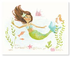 Watercolor Print  Mermaid/Deep Sea Cutie 8x10 by SeaUrchinStudio, $20.00