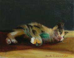Jonelle Summerfield Oil Paintings: Kitten with Green Feather Toy