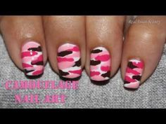 Pink Camouflage Nail Art - YouTube