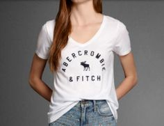 White Abercrombie and Fitch logo tee