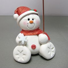*POLYMER CLAY ~ snowman photo holder by Clayin' Around, via Flickr