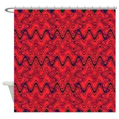 Shower Curtain Red black zigzag pattern #cafepress #decor #style
