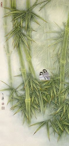 Birds and Bamboo by Lou Dahua. He was born in 1948 and studied art at the Beijing and Shanghai Universities. He has been engaged in the meticulous brushwork of birds and flowers for several decades and his works form a distinct and vivid art style suiting both refined and popular tastes. His paintings are a rare blend of traditional Chinese and Western painting methods.: