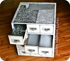 Upcycle card catalog, I think this would be great for file cabinets, too. Great way for my cupcake storage
