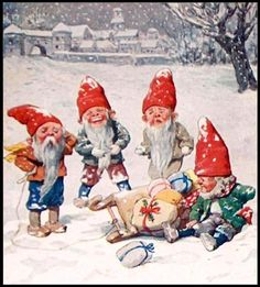 Vintage Christmas Cards and Art: Vintage Christmas Elves
