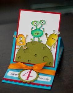 Make a monster birthday by passionflower - Cards and Paper Crafts at Splitcoaststampers Bday Cards, Kids Birthday Cards, 4th Birthday, Scrapbooking, Scrapbook Cards, Monster Party, Easel Cards, Copics, Cool Cards