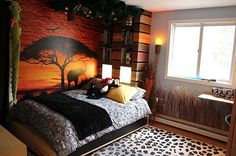 Cool kids bedroom with a safari theme