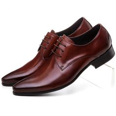 9325d63520 Comprar De gran tamaño EUR45 negro marrón Zapatos de vestir para hombre zapatos  de cuero genuino zapatos de negocios zapatos formales