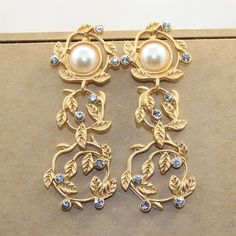 Baroque Rome Palace Earring Leaves Europe Show Branches Of Pearl Crystal Earrings Women Jewelry Accessories 545