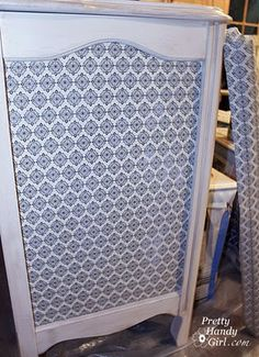 Decoupage dresser side, not this color but I like the idea of picking the decoupage material and matching the paint to it