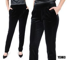 #yokko #velvetpants #winter18 #madeinromania #qualityfashion #elegance #buyonline Velvet Pants, Black Jeans, Magic, Slim, Elegant, How To Make, Jackets, Outfits, Tops