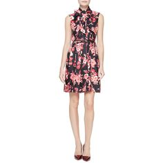 Kate Spade New York sleeveless tie-neck floral silk pleated dress ($448) ❤ liked on Polyvore featuring dresses, black, floral a line dress, neck-tie, silk dress, floral necktie and flower print dress