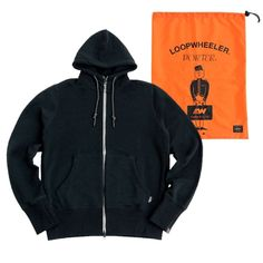 "Porter ""Loopwheeler x Porter"". Material: Cotton. Ref: 384-00032.  Size: Medium, Large. High-neck parka with attached pockets inside for travel, iPhone6, side pockets using orange concealed zippers where you can carry valuables such as passports etc. There is a slit to slide your thumb so you can use as a hand warmer as well."