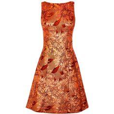 Karen Millen Floral Jacquard Dress, Rose Gold ($235) ❤ liked on Polyvore featuring dresses, sleeve cocktail dress, floral cocktail dresses, midi cocktail dress, evening dresses and cocktail dresses
