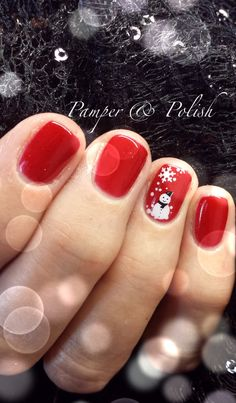 Even short nails look beautiful! Red Gelish with snowman nail art x