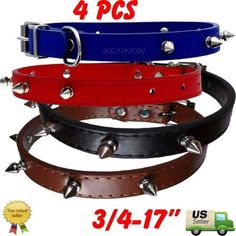 WennoW® Fashion Red, Blue, Black, Brown 5 Spiked #Leather Dog #Collar